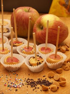 Melon Baller + melted butterscotch chips = mini caramel apples