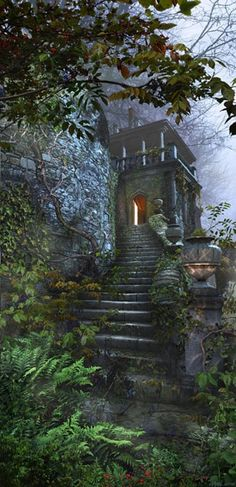 castle steps in mist