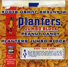 Planters - Jumbo Block peanut candy bar wrapper - 1970's by JasonLiebig, via Flickr