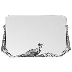 Art Deco Nickel Bronze Mirror with Leaping Deer by L. Charles, France, circa 1920