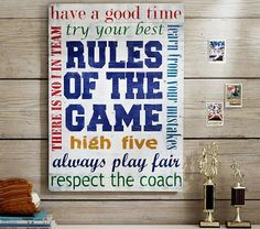 Would be great in Masons new room! Rules of the Game Planked Art   Pottery Barn Kids
