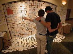 Sticky note prayer wall - love this idea! || Would be great as a random act of spirituality. (ie. Say a school/students need prayer (first day of school, tragedy, graduation, etc) spread the word, set a place, drop off some pins and post-its, post a short 'intro' poster, see where it goes.) Could also be done for Lent in public, a temporary setting in a sanctuary, youth retreat prayers, etc.