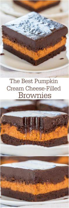 The Best Pumpkin Cream Cheese-Filled Brownies - A layer of pumpkin cheesecake inside fudgy brownies! Best pumpkin brownies ever!!