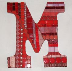 Letter M red by Mixed Media Mosaics