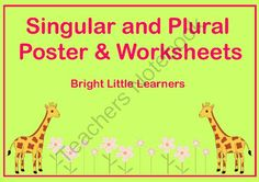 Singular & Plural Poster and Worksheets from Bright-Little-Learners on TeachersNotebook.com -  (9 pages)  - This is a complete packet for children learning Singular & Plural forms. It has a 1 page poster (both b/w and color included )that explains all rules of plural formation. I have included worksheets for practicing all these rules. It is a perfect unit