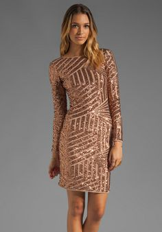 BCBGMAXAZRIA Sequin Long Sleeve Scoop Back Dress in Rose Gold