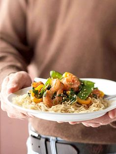 shrimp and Ramen noodle stir-fry.  When you need a last minute dinner idea, consider this stir-fry recipe that combines shrimp, ramen noodles, vegetables, and traditional Asian sauces in one scrumptious meal.