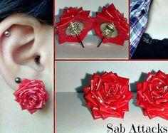 Duct Tape Rose Earrings