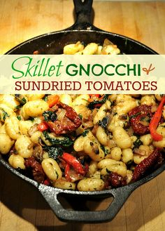 Skillet Gnocchi with Sundried Tomatoes, Spinach, Onion, Bellpepper, and Mushrooms