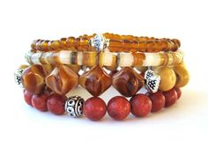 Natural beaded stretch bracelets featuring vintage glass beads, coral beads, shell and seed beads handmade by Rock & Hardware Jewelry