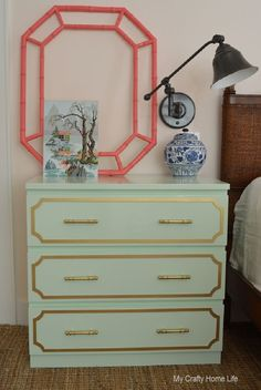 Mint and gold overlay Ikea Malm dresser hack.