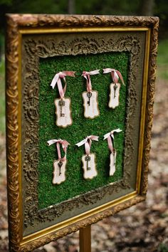 vintage key seating chart, photo by Matt and Ashley Photography http://ruffledblog.com/whimsical-wonderland-shoot #weddingideas #escortcards