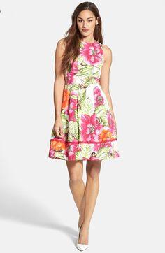 Eliza J Floral Print Cotton Sateen Fit & Flare Dress | Nordstrom