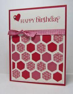 handmade birthday cards, happy birthdays, valentine cards, honeycomb cards, hexagon cards