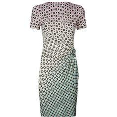 Diane von Furstenberg Zoe Printed Tie Side Dress found on Polyvore