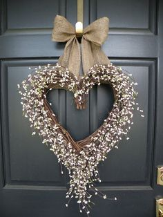 cute wreath, red bow for Valentine's day
