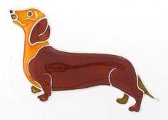 Dachshund Dog Enamel & Silver Pin
