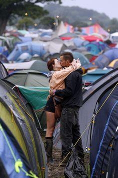 Glastonbury Festival Fashion Inspiration.  Love, Kiss, Couple, Tents