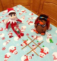 The Diary of a Nouveau Soccer Mom: Eight Easy Elf on the Shelf Ideas--Elf plays M and pretzel tic-tac-toe