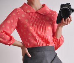 blouses, polka dots, dot silk, peter pan collars, cream white, salmon, pink, cuffs, balloons