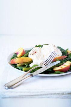 burrata salad with grilled peaches & asparagus