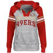 San Francisco 49ers Ladies Huddle V-Neck Hoodie - Steel/Scarlet