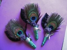 peacock boutonniere - love these