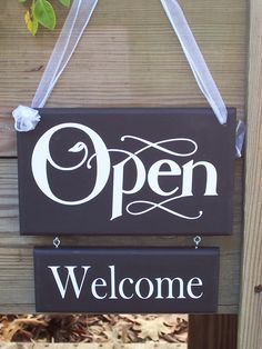 Whimsical Shabby Retail Shop Store Open Closed Wood Vinyl Sign Welcome Please Come Again Business Office Door Hanger. $29.95, via Etsy.