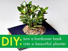 Book planter, hardcover book planter, planter book, DIY book garden planter