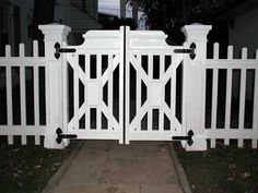 Double gate- Picket Fence F002 diy found on http://www.gardenstructure.com