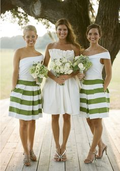 Striped bridesmaid outfits. i'm in love!