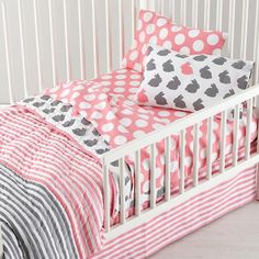 Girls Bedding: Grey Pink Toddler Bedding in Toddler Bedding | The Land of Nod