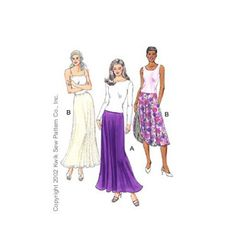 Skirts -  pull-on, bias cut, flared skirts come in two lengths and have elastic in casing at the waist.  View A is a single layer skirt.  The View B skirt is double and the skirt is reversible.
