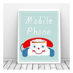 Toy Phone Nursry Art Print Nursery Art Download by CallMeArtsy, $5.00