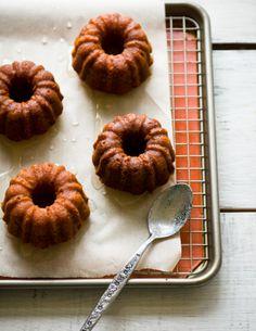 Honey-Meyer Lemon mini Pound Cake with Chamomile Glaze pound cakes, bundt cakes, lemon pound, meyer lemon, dessert