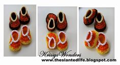 The Slanted Life: Candy Corn Crochet Baby Shoes