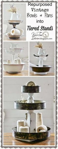 *Up*cycle bowls & tins as space-saving tiered storage stands.