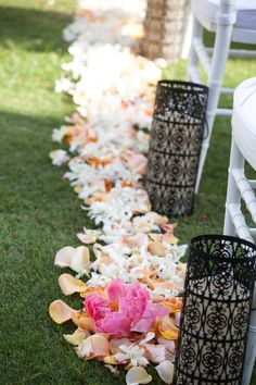 Gorgeous wedding ceremony aisle markers! {@meewmeewstudios}