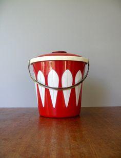 Mid Century Cathrineholm Enamel Red Lotus Ice Bucket by luola, $225.00