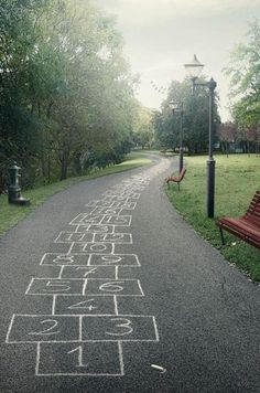 Fun way to exercise, hop scotch that whole thing.