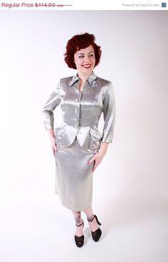 3 DAY SALE 1940s Vintage Suit...Glamorous Silver Slubby Silk Satin War Era 40s Tailored Skirt Suit Size Small. $96.90, via Etsy.