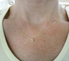Tiny gold letter necklace Gold initial necklace by OliveYewJewels