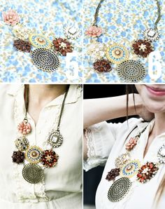 DIY Bib Necklace from old brooches
