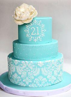 21st birthday blue damask cake  Blue damask cake  Flickr - Photo ...
