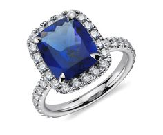 Cushion Tanzanite and Diamond Ring in 18k White Gold by Blue Nile