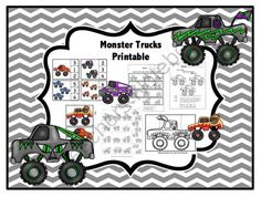 Monster Trucks Printable from Preschool Printables on TeachersNotebook.com -  (30 pages)  - Printable: The activities in this pack are designed to have fun while the child learns a variety of preschool concepts including number, color, patterns, sequence, size, letters and more.