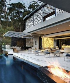 modern home in forest