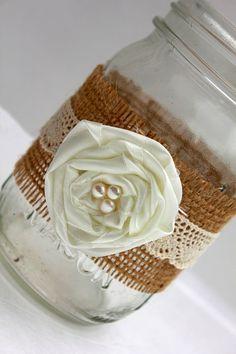 Burlap Mason Jars, Burlap and Lace Mason Jars, Rustic Wedding Decor, Mason Jar Wedding Decor, Rustic Wedding, Shabby Chic Wedding, Set of 5