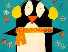 penguin w earmuffs- holiday art
