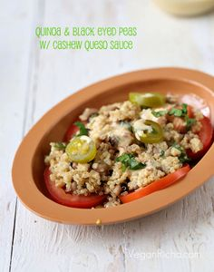 Quinoa and Black Eyed Peas with Cashew Queso